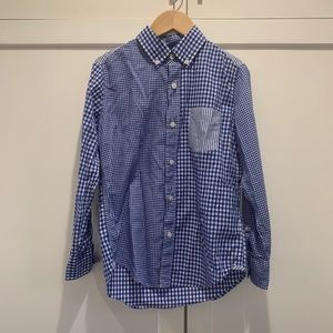 Like new boys Crewcuts gingham and striped shirt